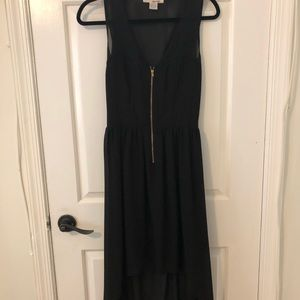 Hi-low open back black dress